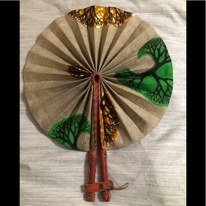 Handmade African print leather trim cloth fan